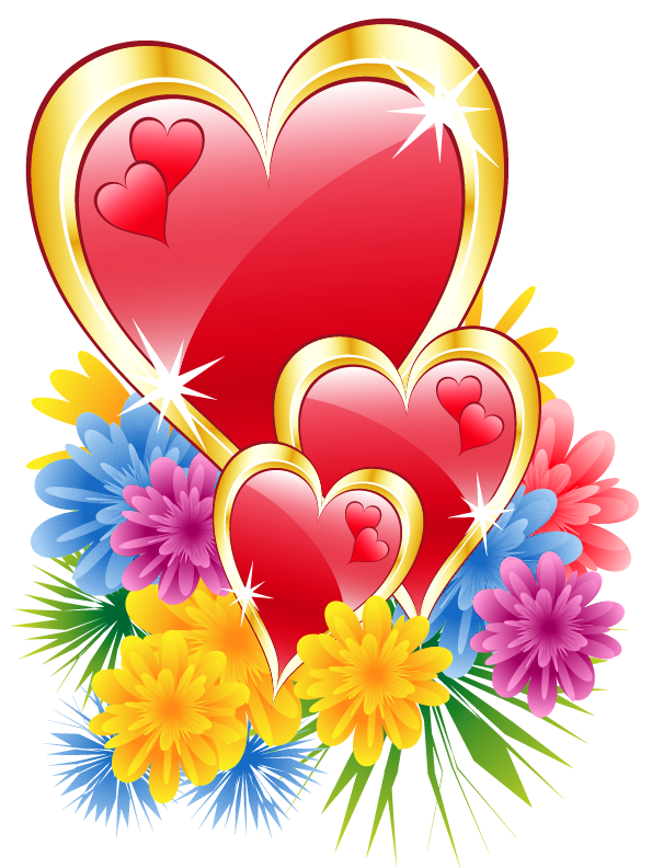 Valentine with flowers png. Clipart hearts flower