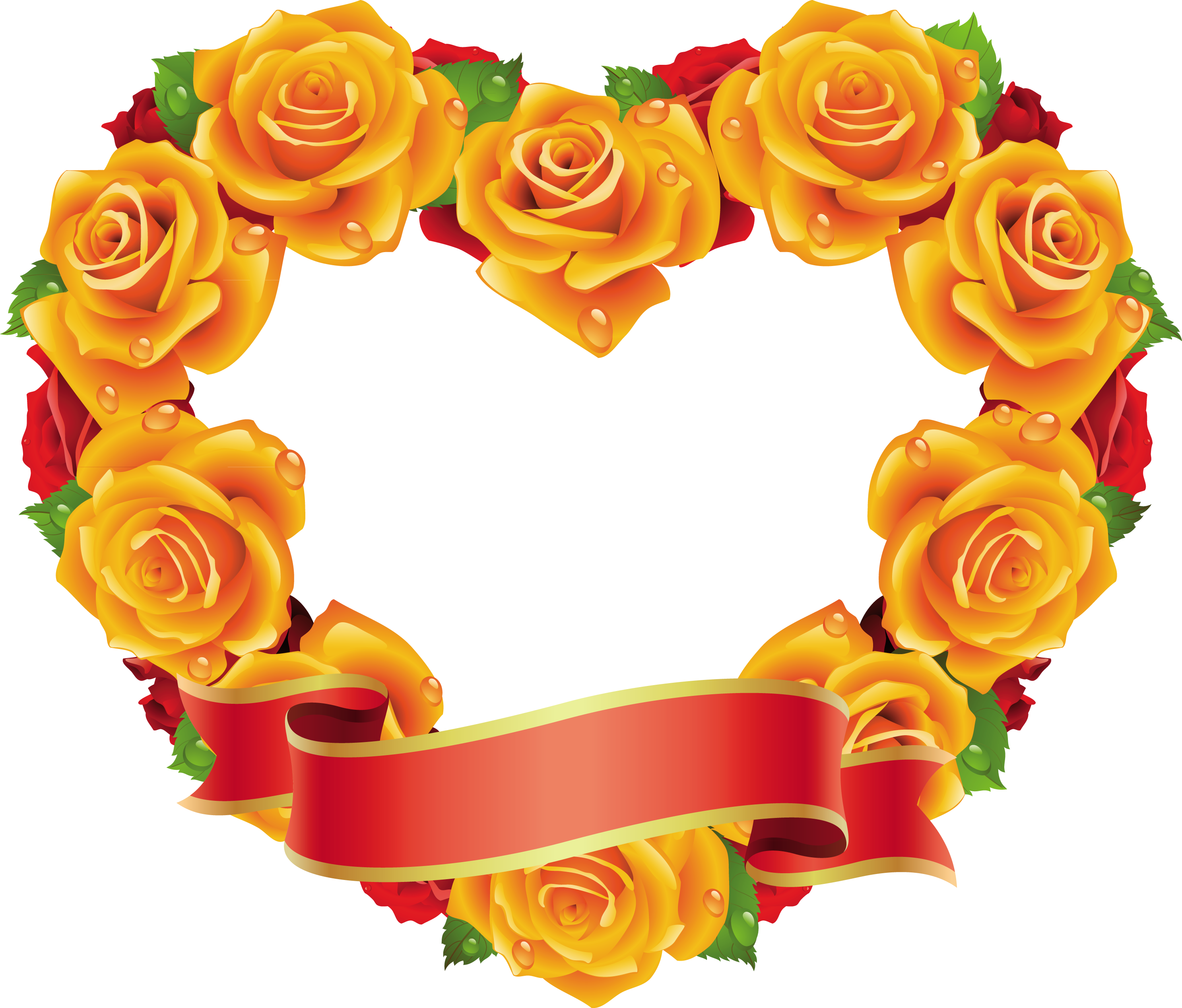 Clipart roses shape. Yellow and red heart