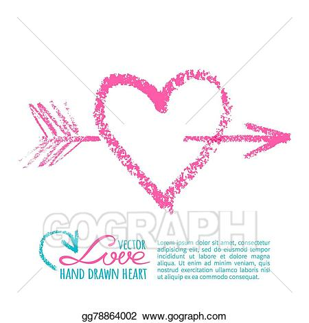 Vector lipstick heart and. Clipart hearts handwritten
