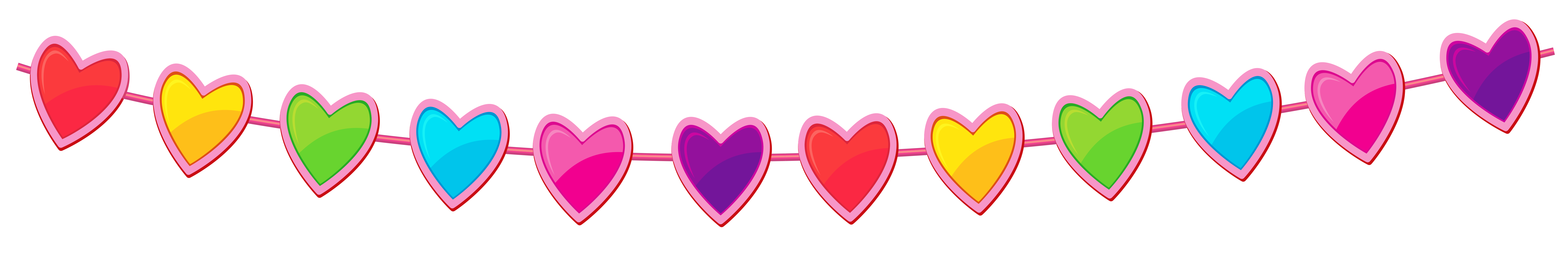 Line of hearts png. Transparent heart streamer clipart