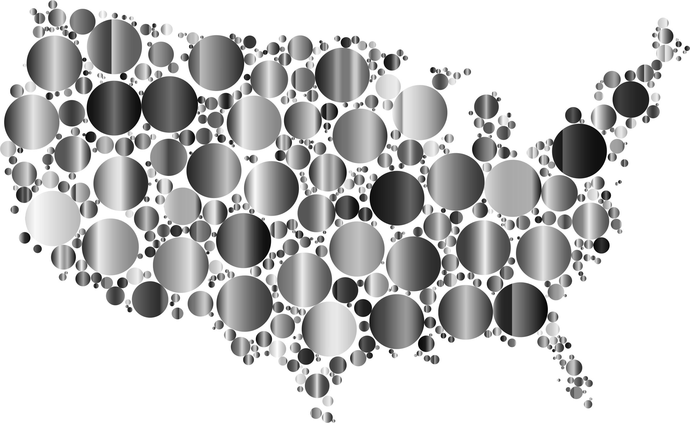 Clipart heart map. Prismatic united states circles