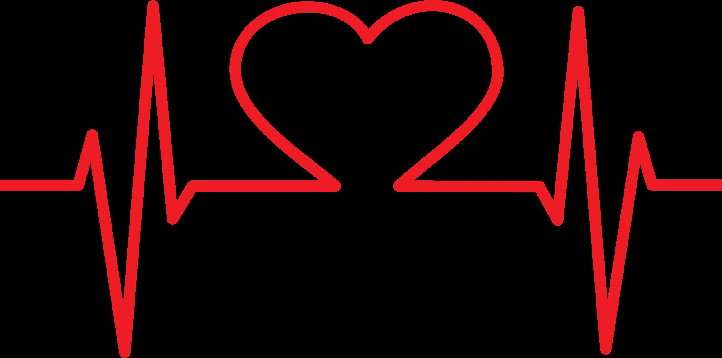Heart ekg big image. Heartbeat clipart transparent