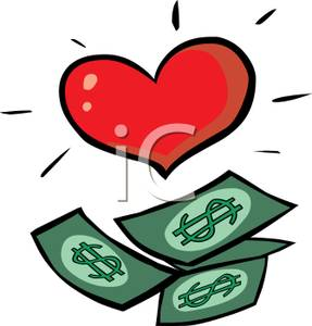 Heart clipart money. Paper and a red