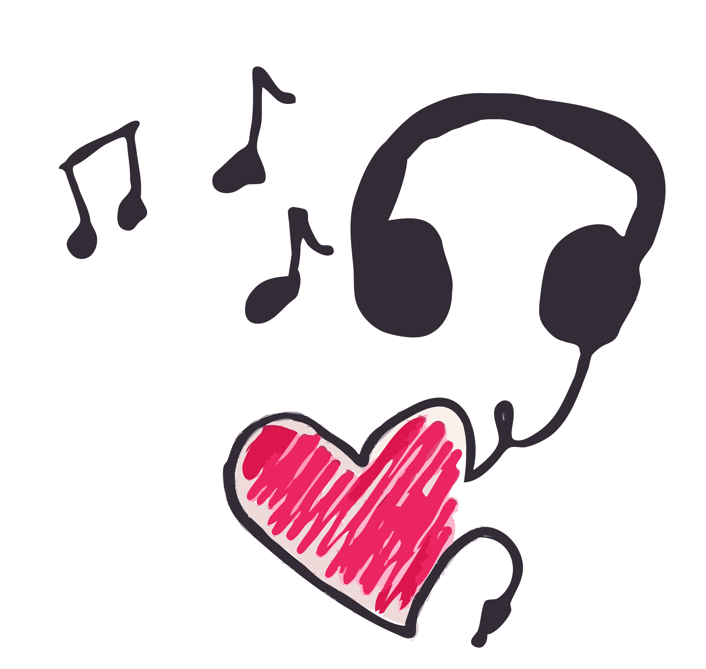 Cleaned up big image. Music clipart heart