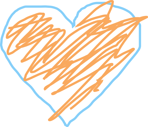 Blue and clip art. Heart clipart orange