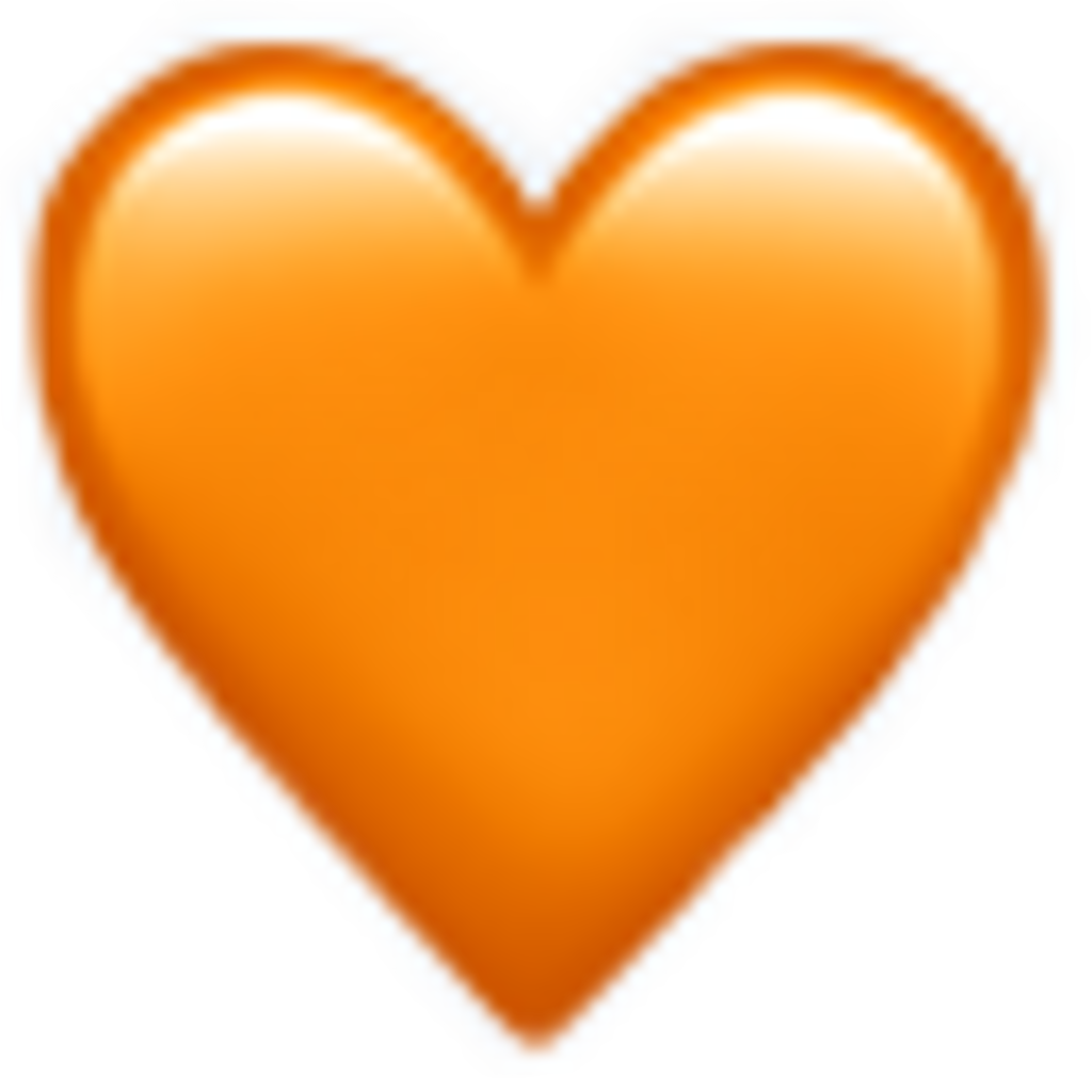 Clipart heart orange. Flourished emoji freetoedit
