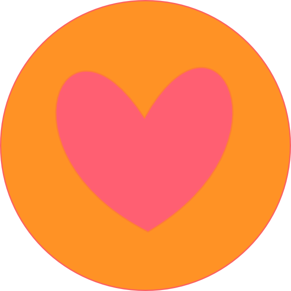 Clipart heart orange. In circle clip art
