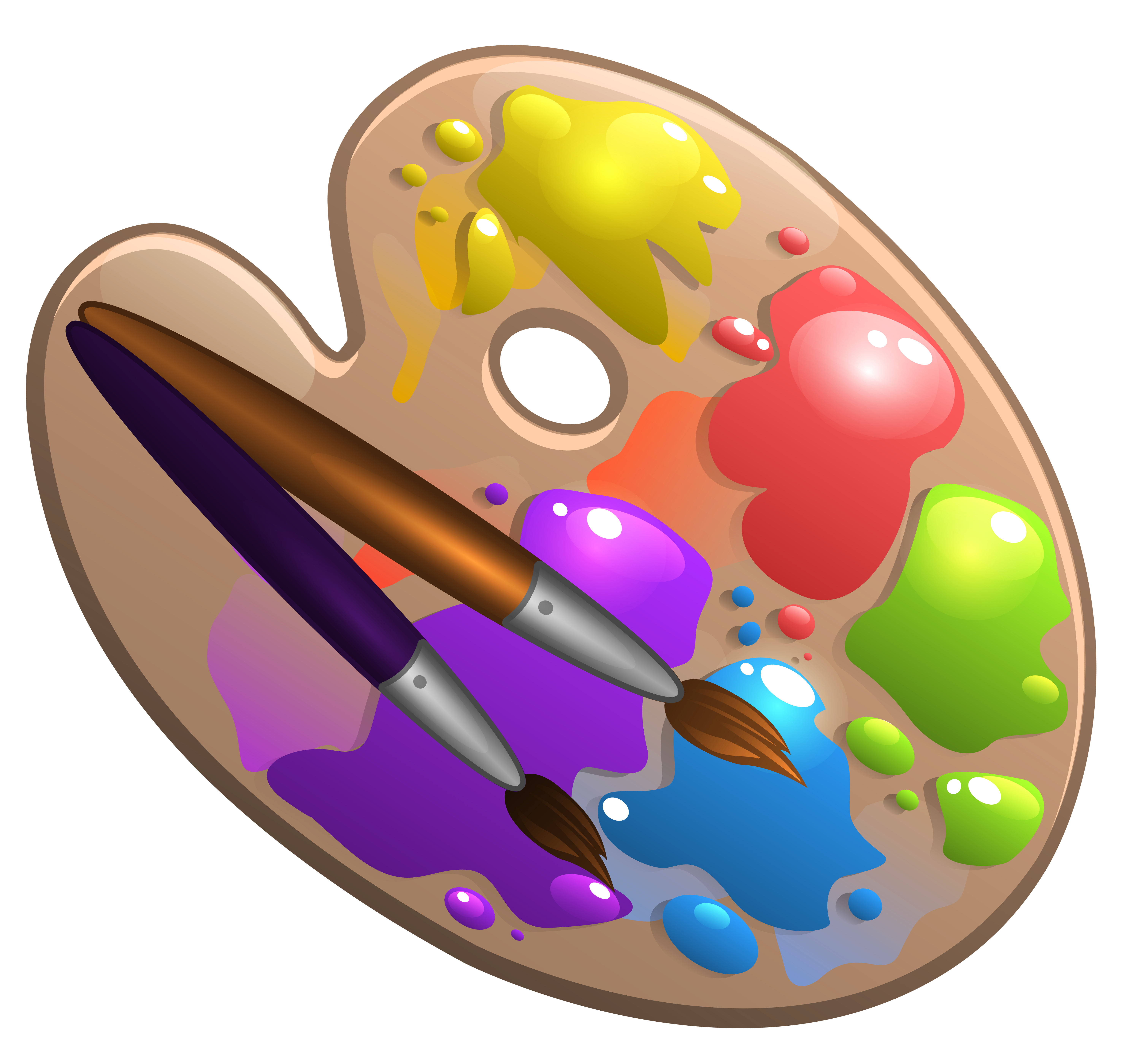 Paintbrush clipart small. School palette with paint