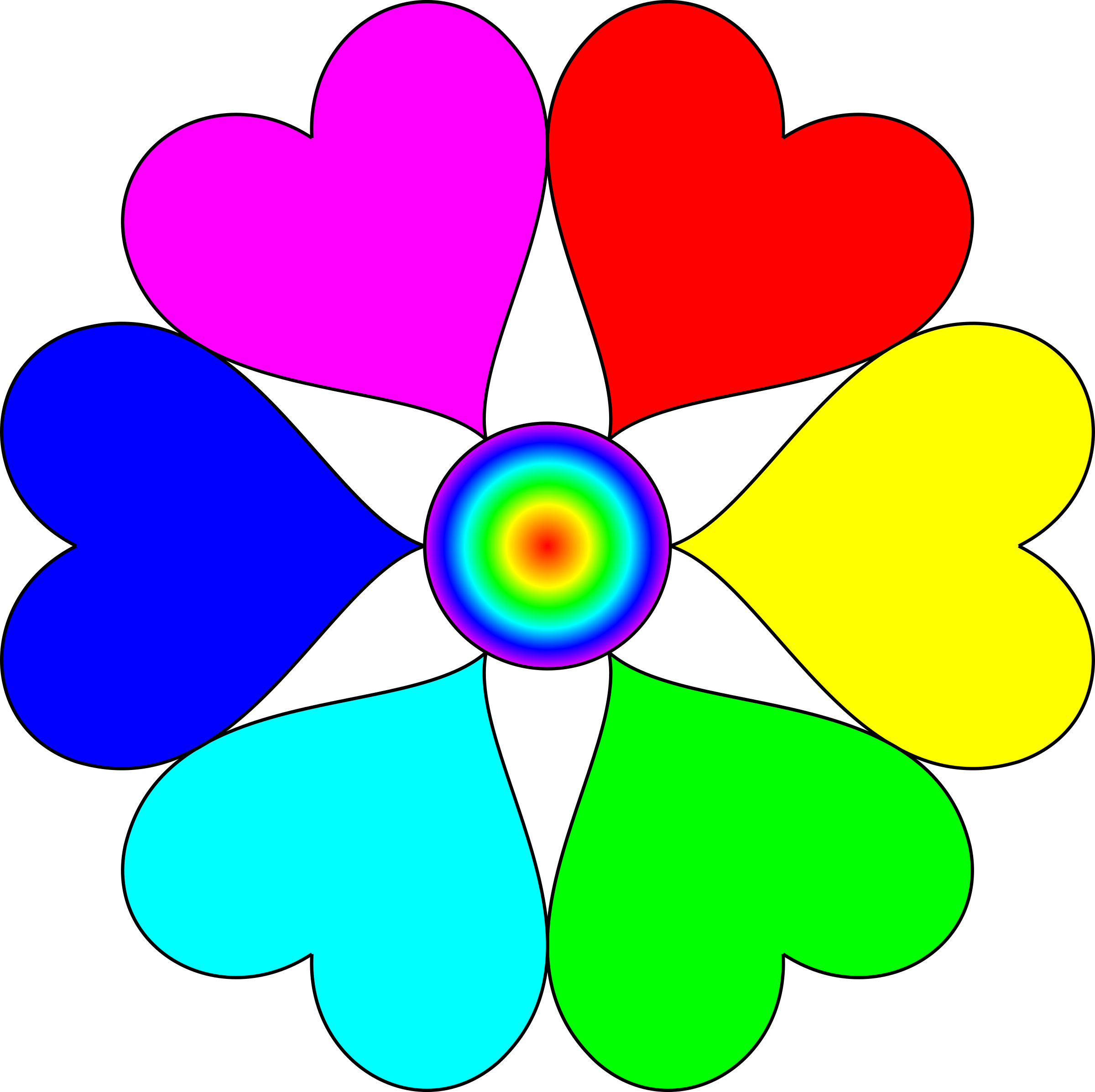 Spectral color heart big. Clipart hearts flower
