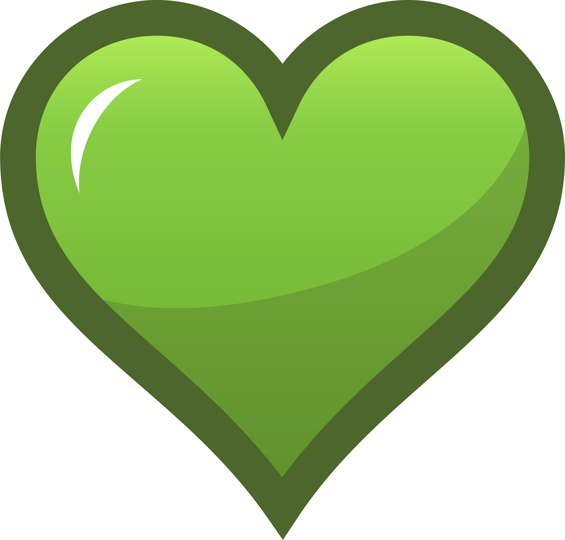 Green heart big image. Hearts clipart icon