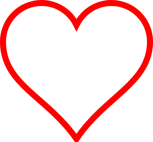 Clipart heart red. White w outline clip