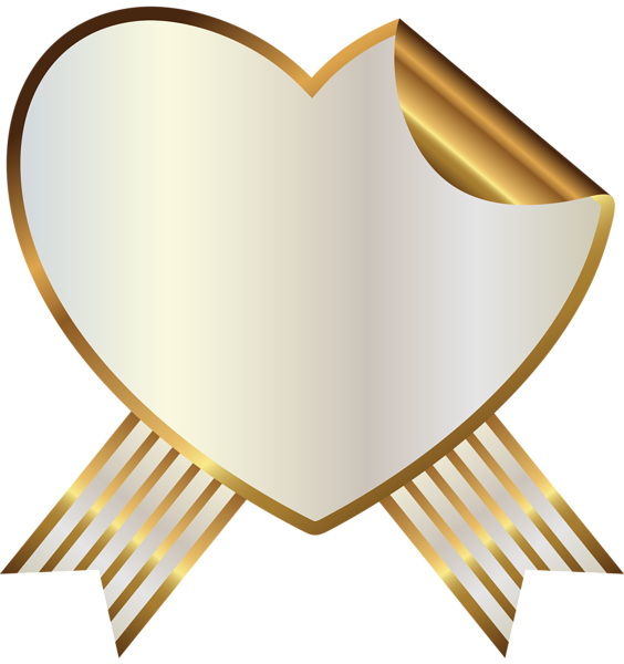 White and gold heart. Music clipart ribbon