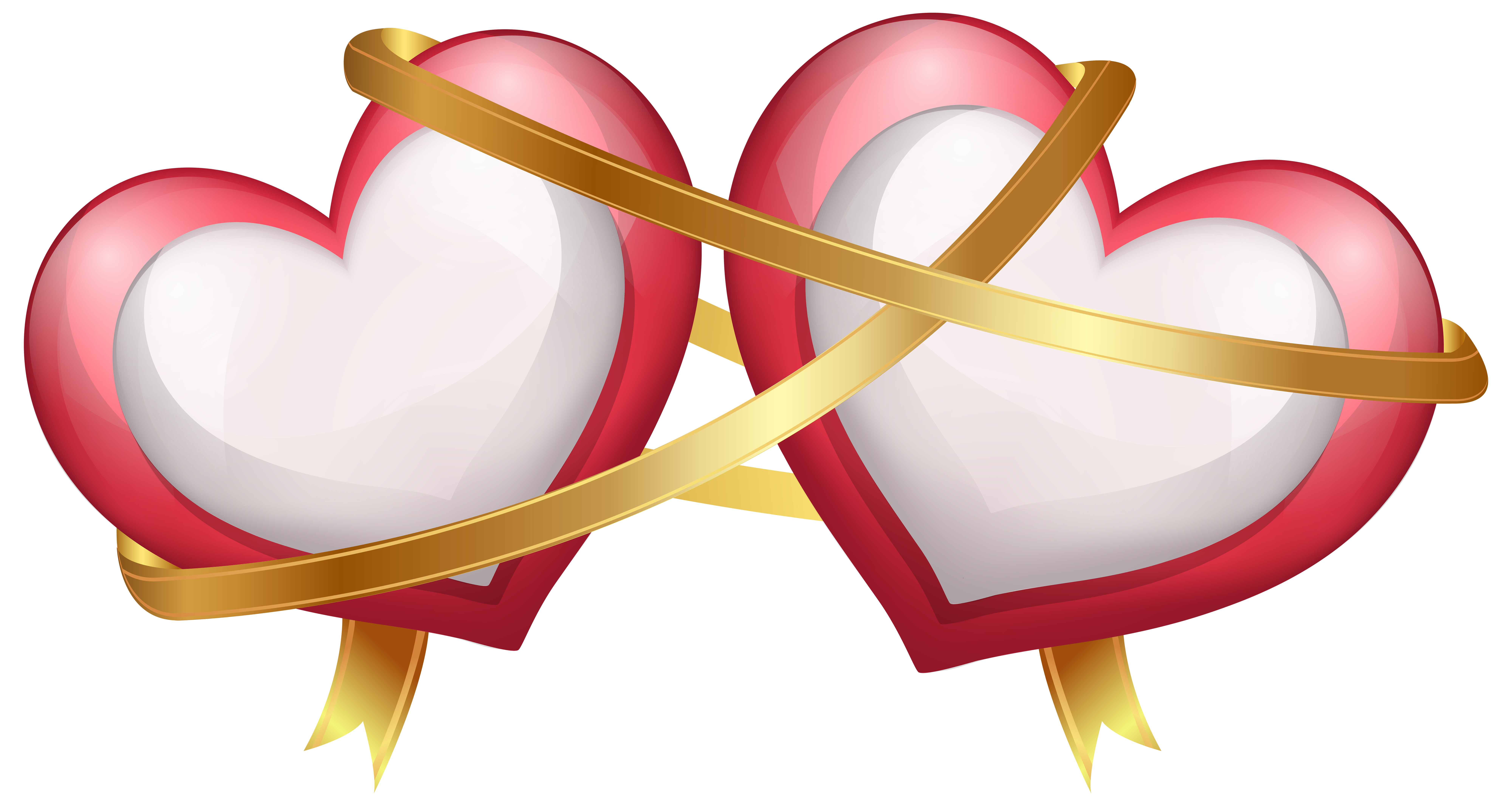 Two with transparent png. Hearts clipart ribbon