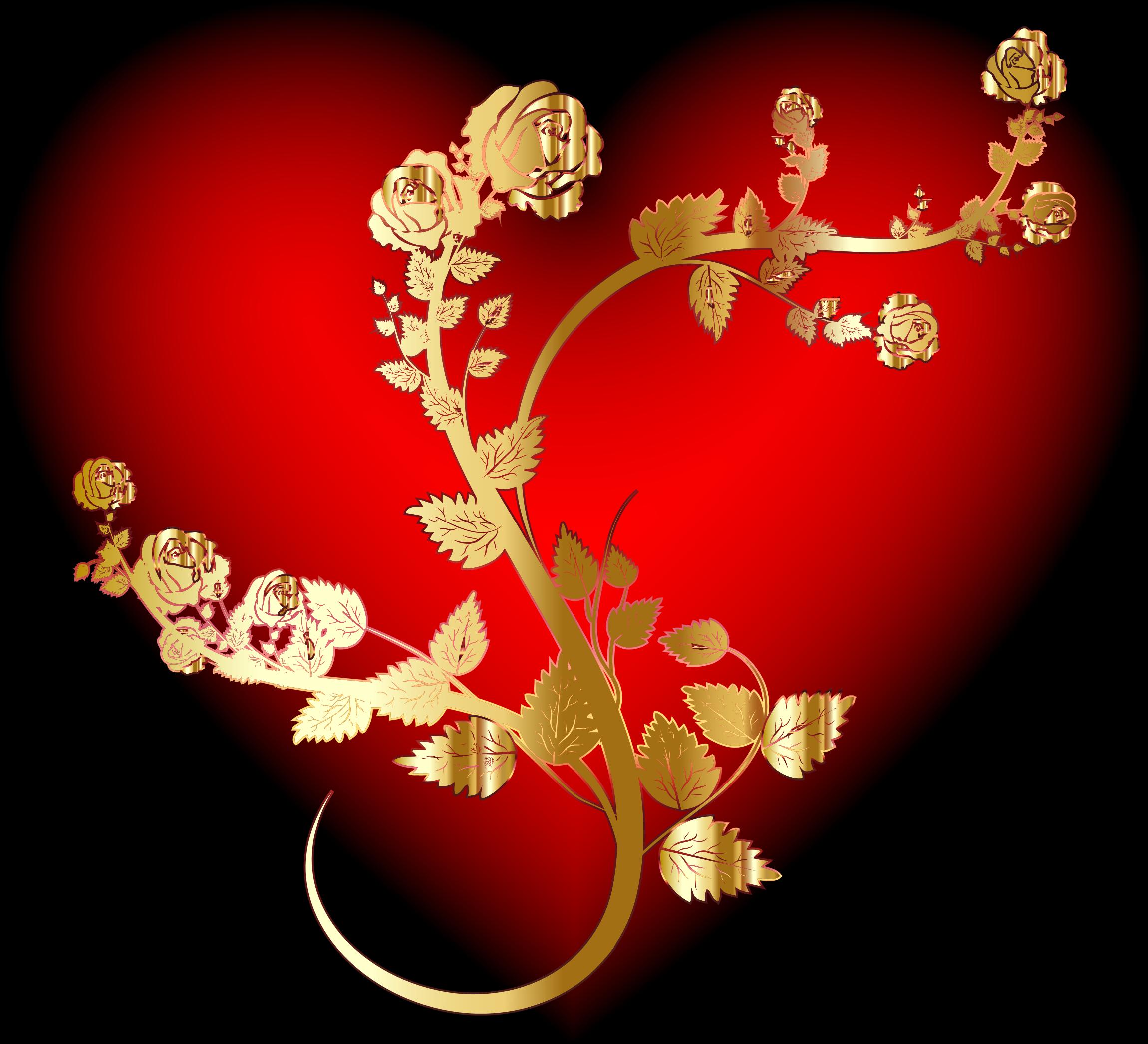 Clipart rose heart. Golden big image png