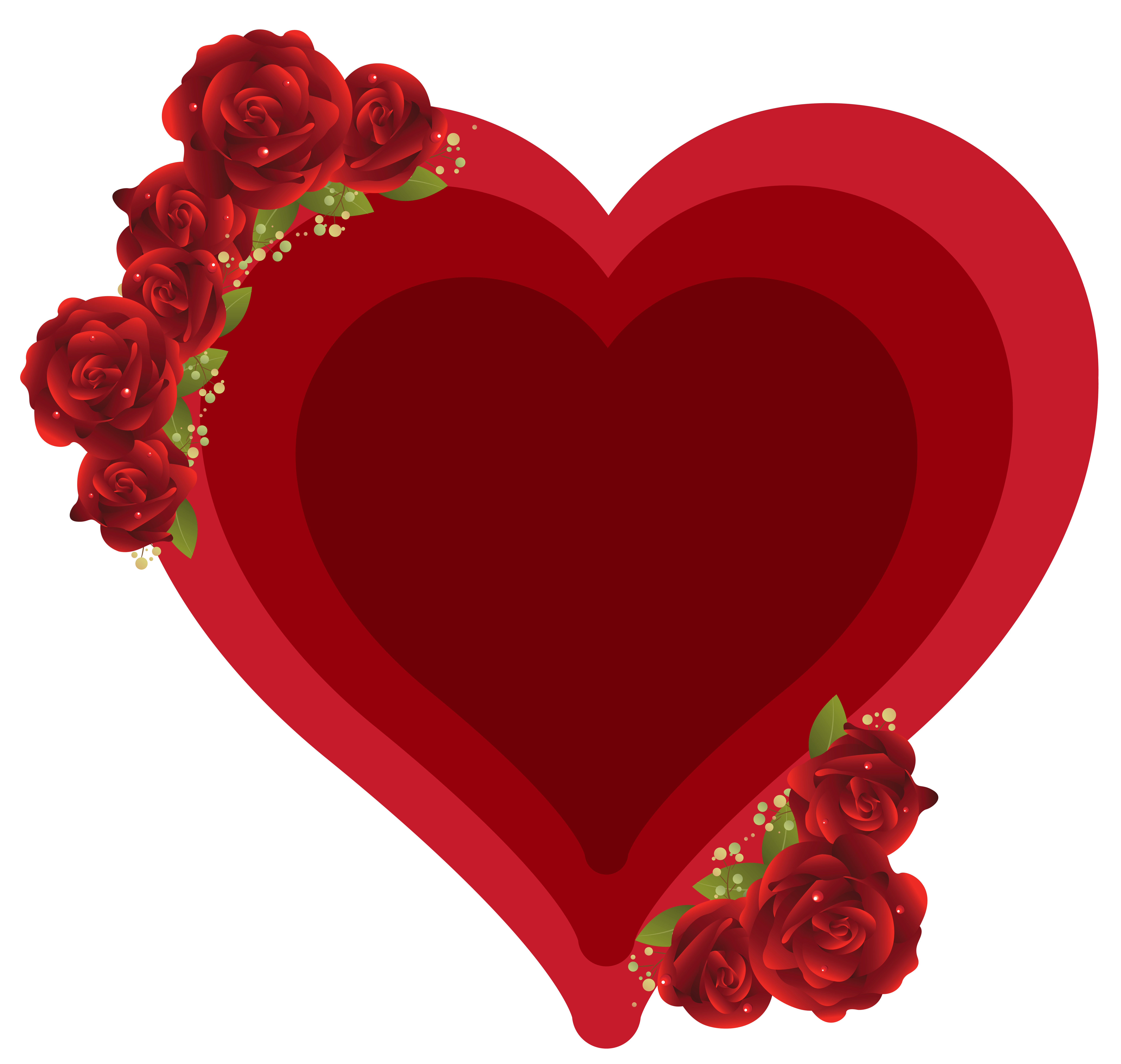 Hearts clipart rose. Deco heart with roses