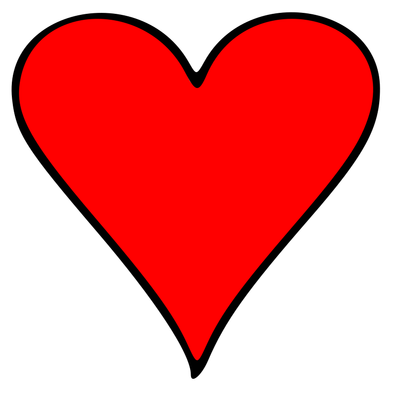 Clipart heart sign. Outlined playing card symbol