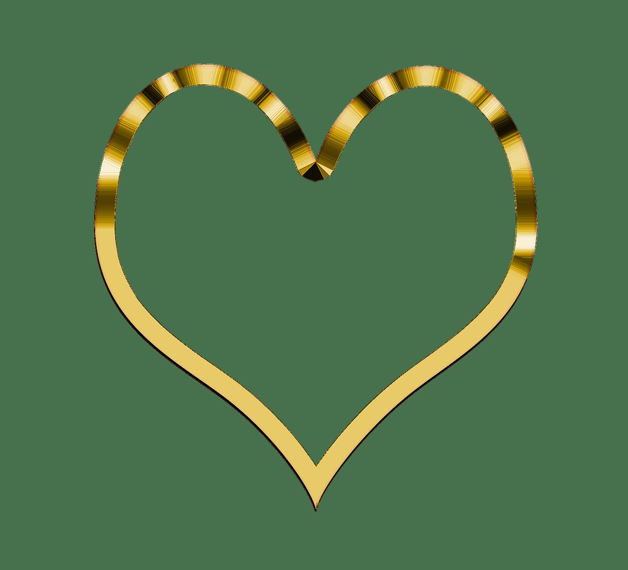 Golden transparent png stickpng. Clipart heart simple