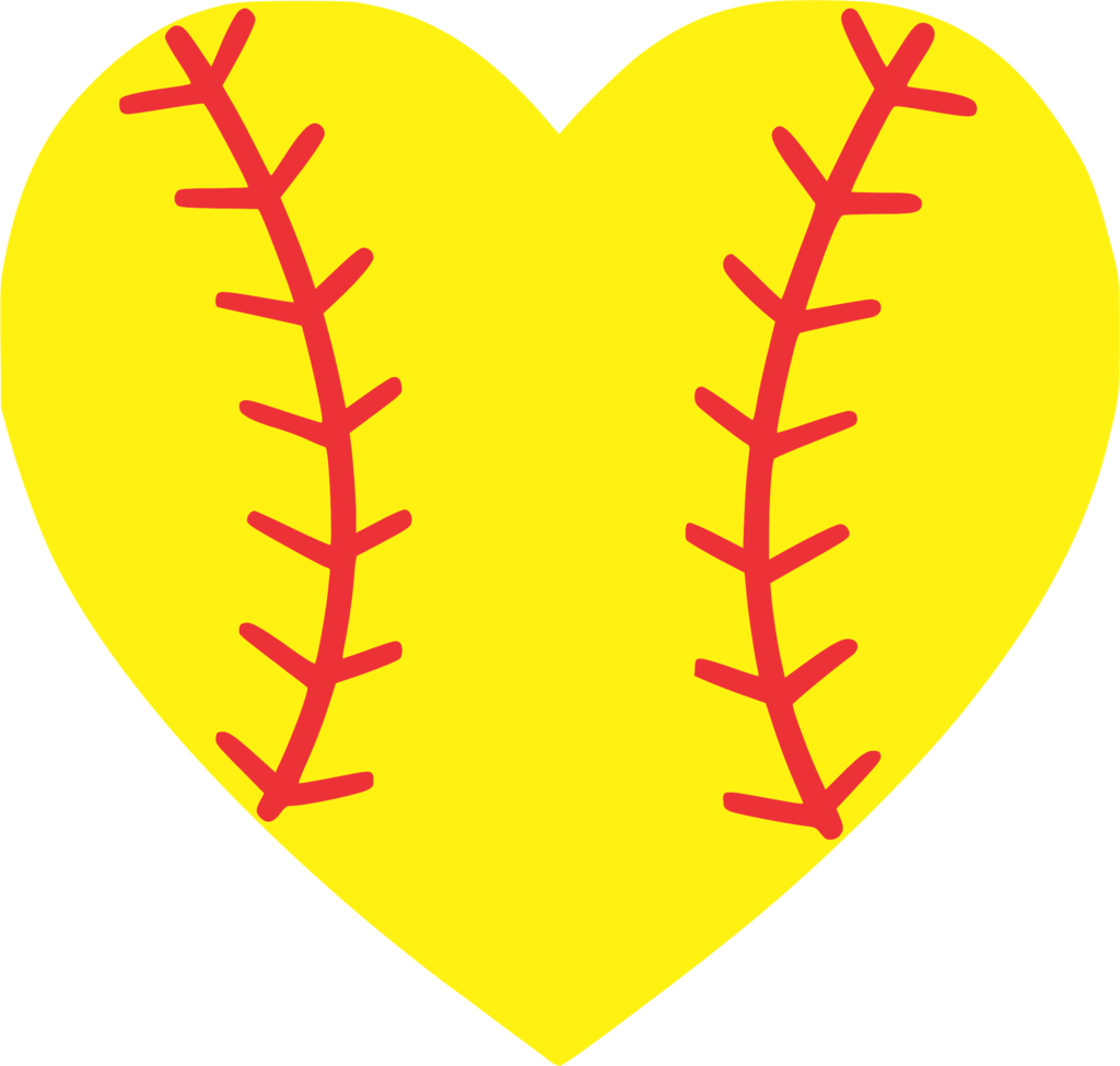softball clipart heart