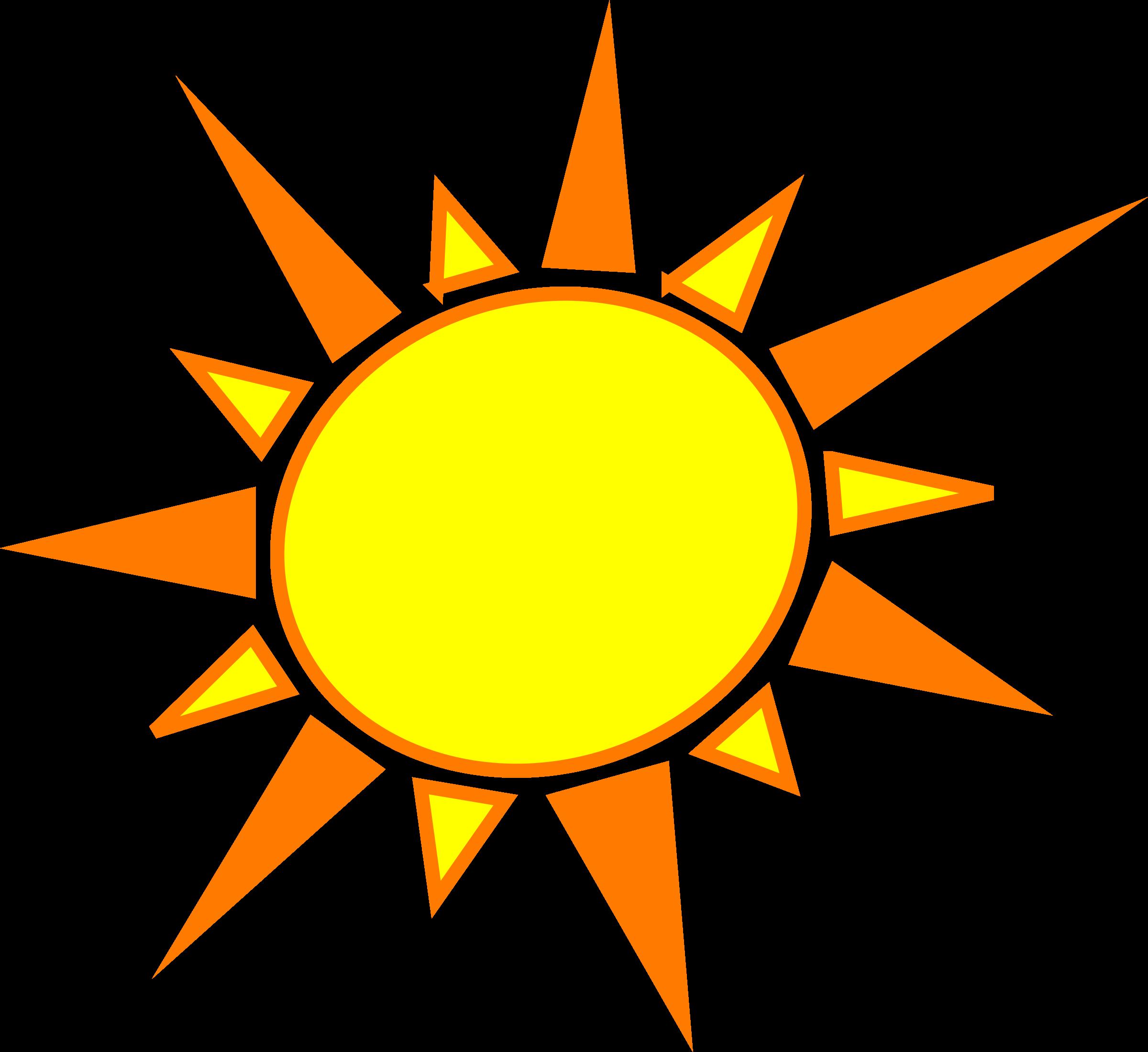 Clipart sun heart. Yellow and orange big