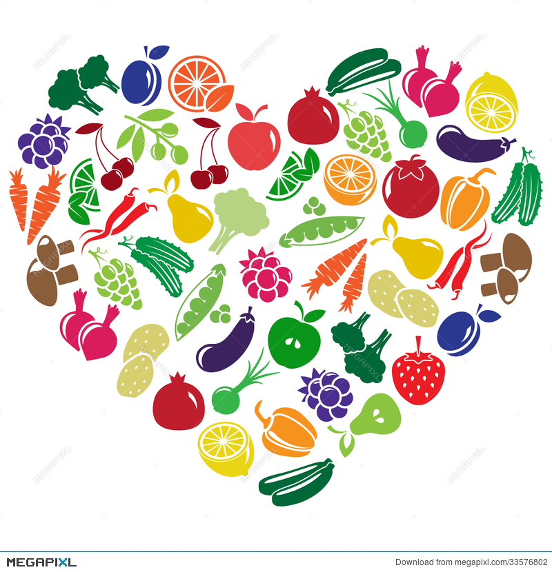 Vegetables clipart heart. Made of fruits and