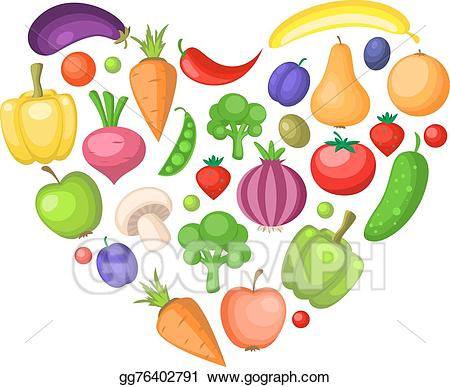 Eps vector fruits and. Vegetables clipart heart