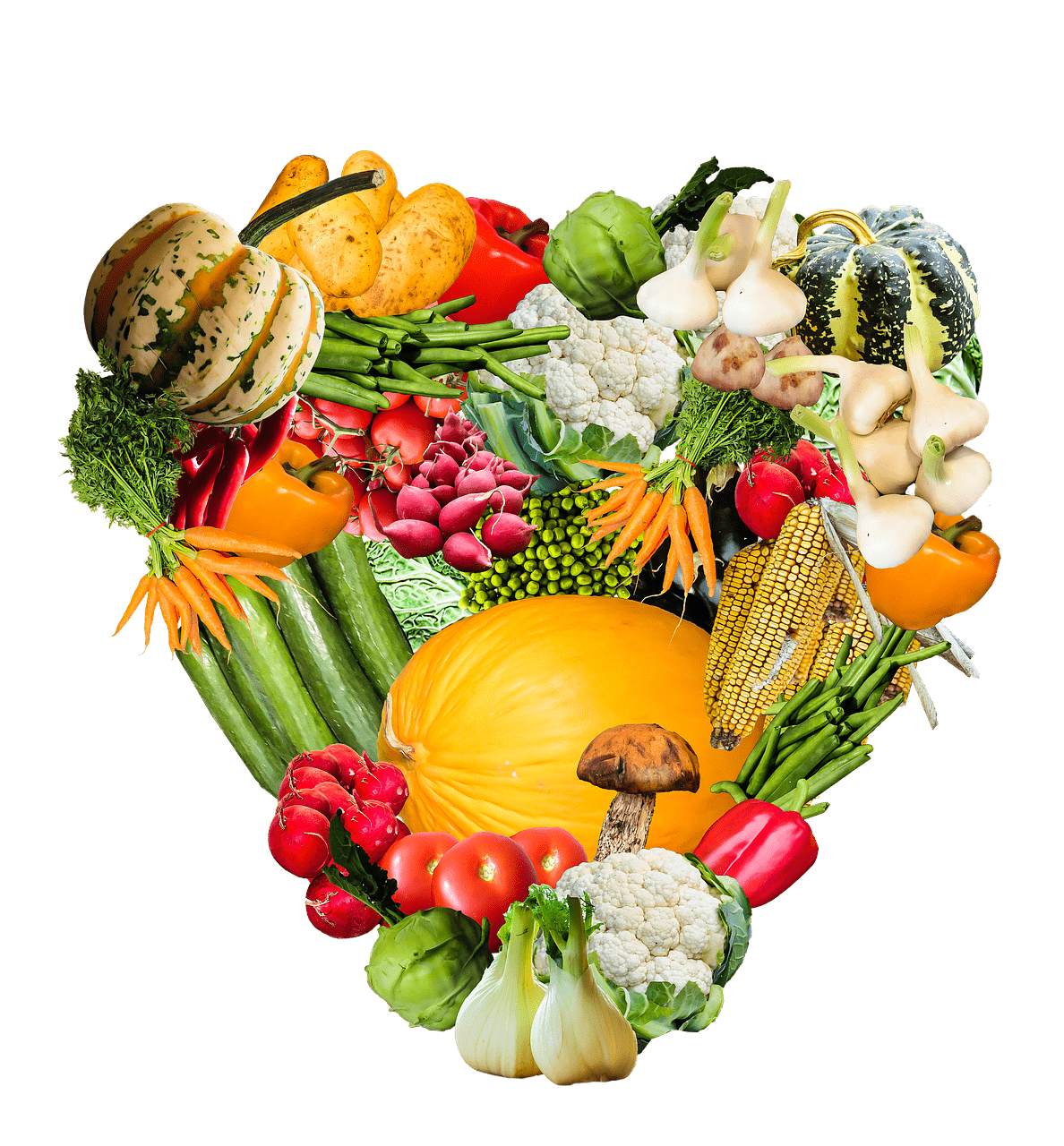 Heart made of vegetables. Hearts clipart vegetable