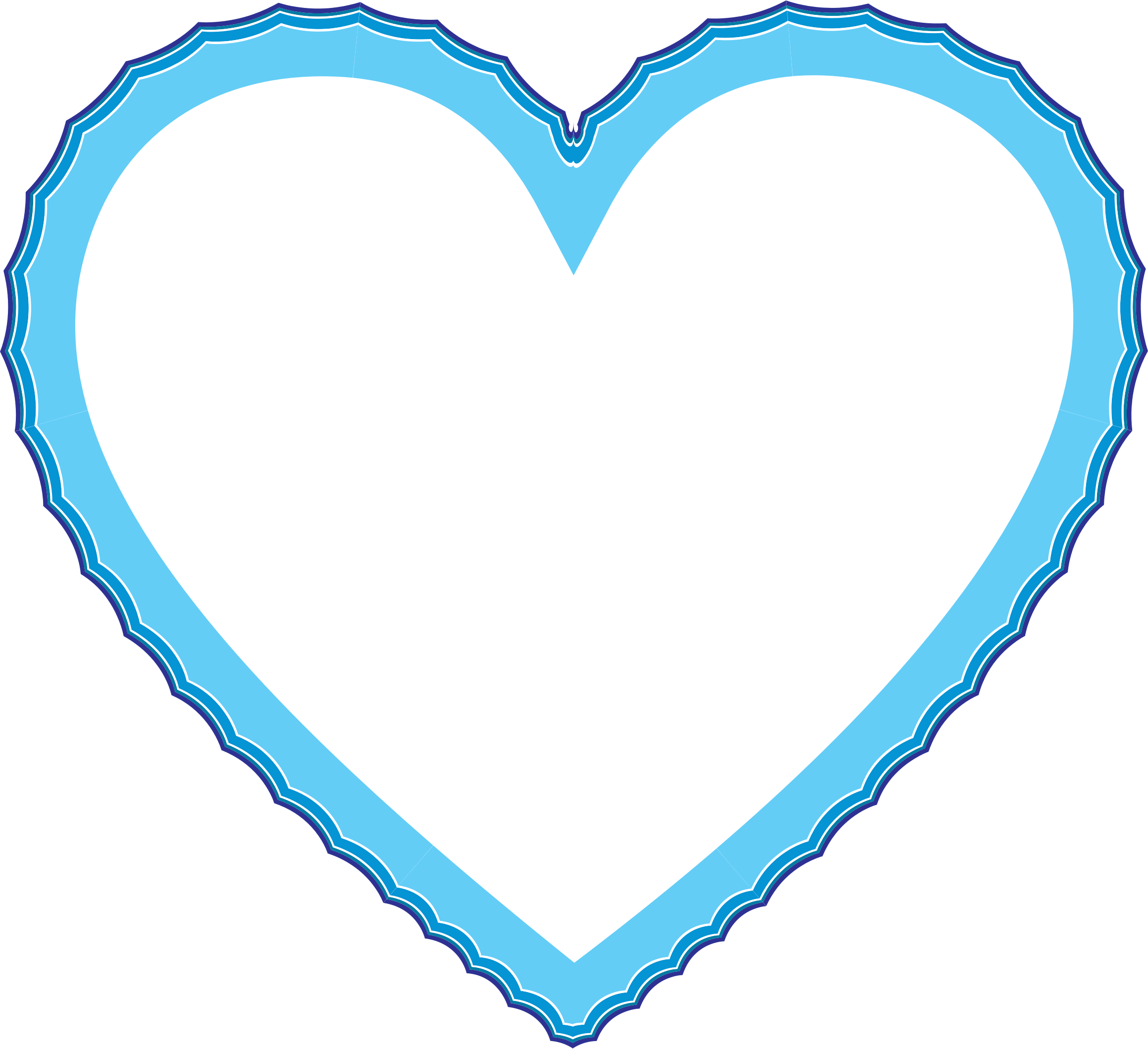Waves frame big image. Heart clipart water
