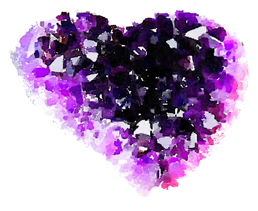 Free shaped geode watercolor. Crystal clipart heart