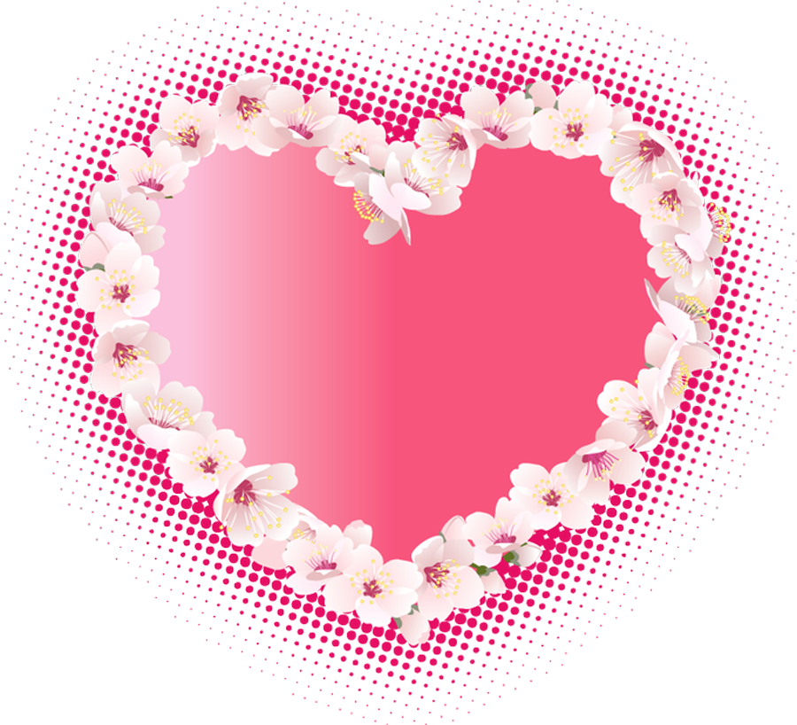 Pink heart with flowers. Clipart hearts watercolor