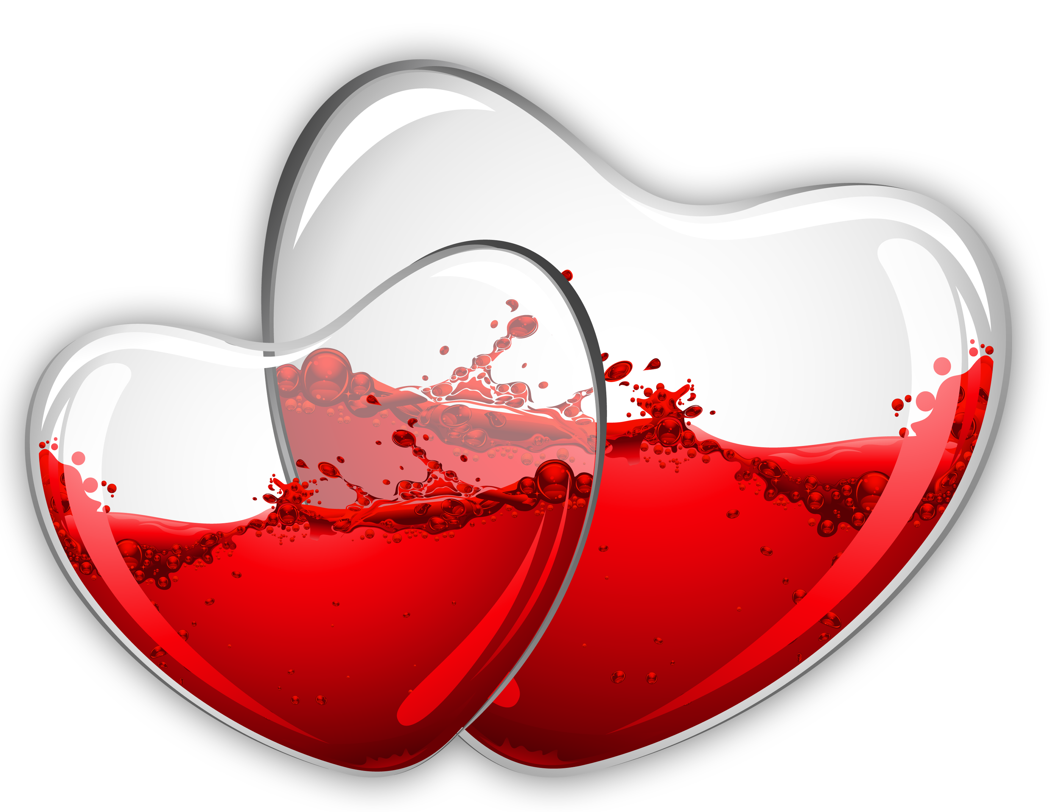 Hearts with red wine. Glass clipart glass frame