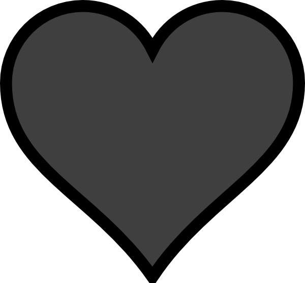 Grey heart outline clip. Clipart hearts black and white