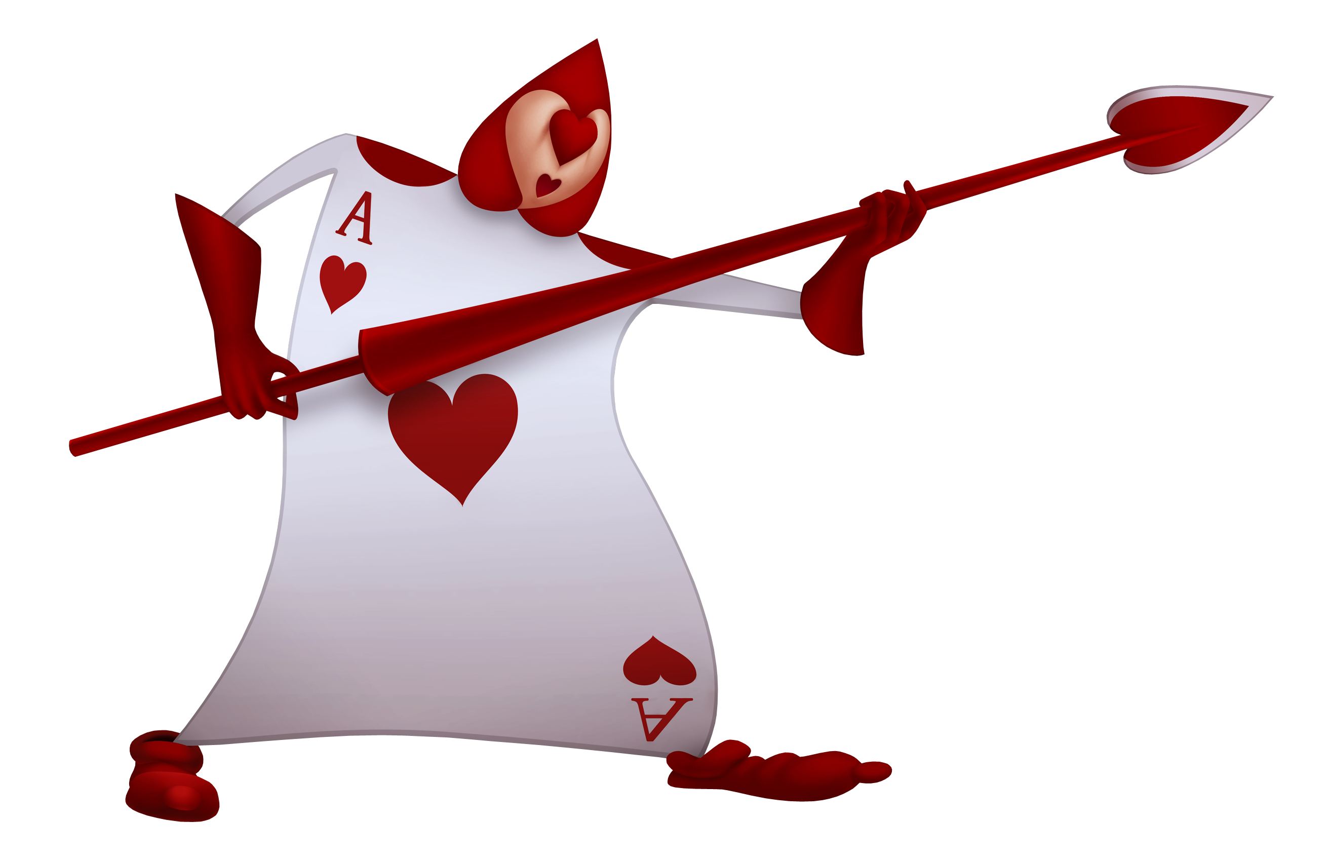 Image card of hearts. Queen clipart staff