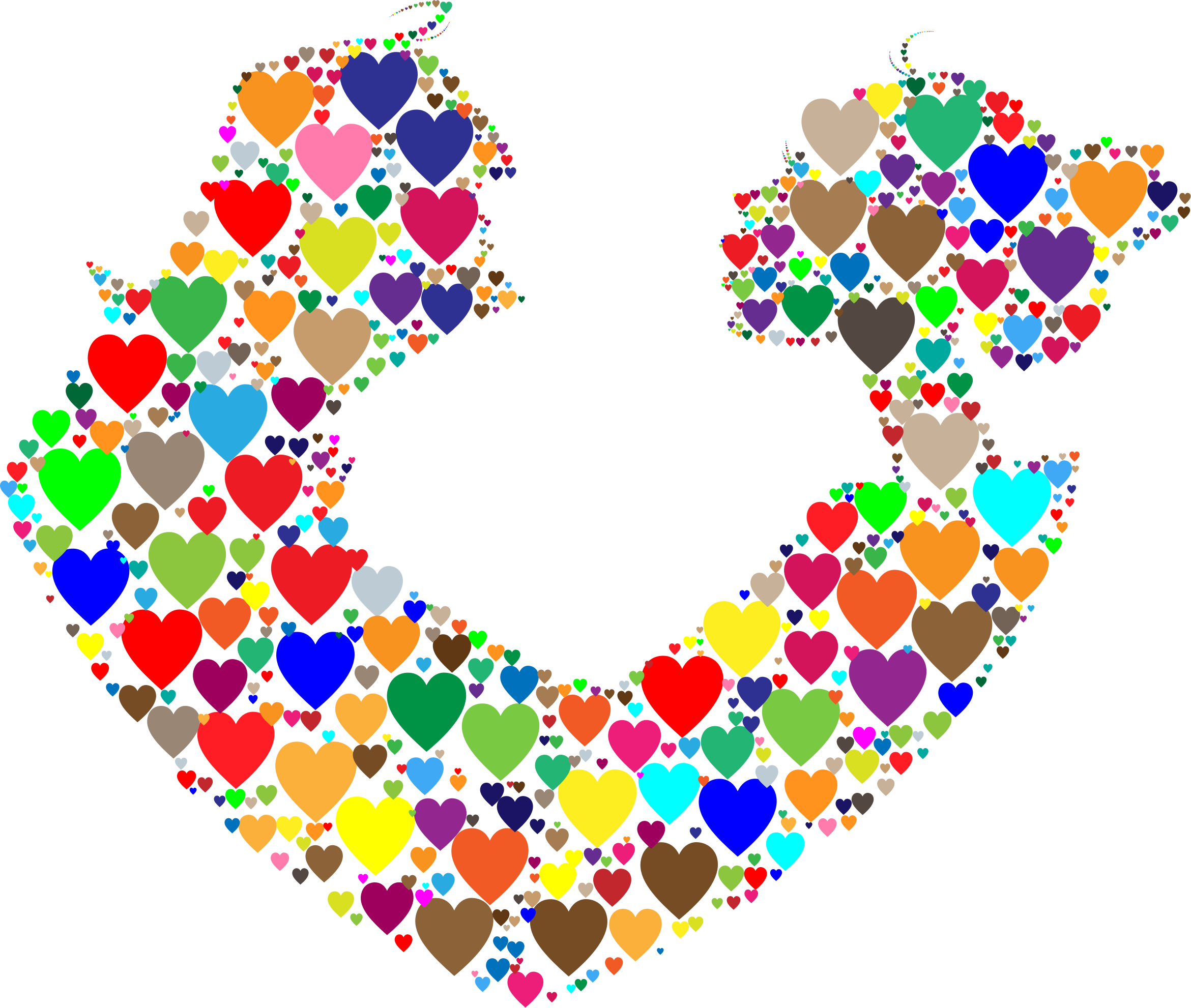 Colorful couple silhouette hearts. Clipart man heart