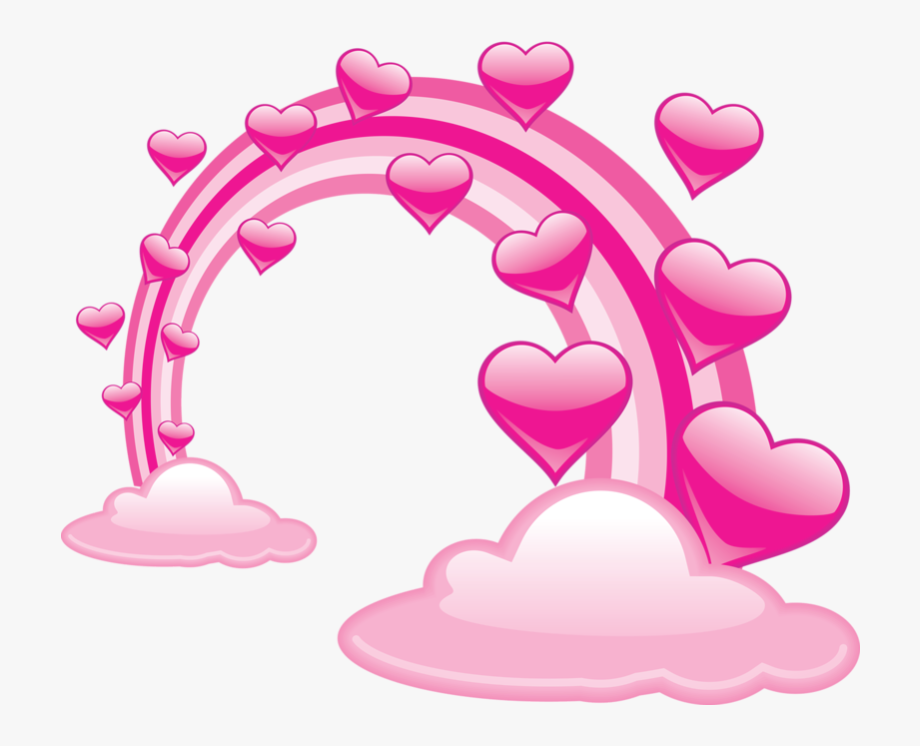Pink valentine clouds with. Hearts clipart cloud