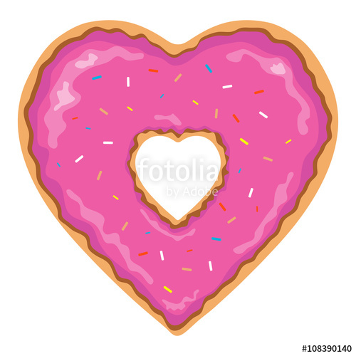 Doughnut clipart heart. Shaped and isolated pink