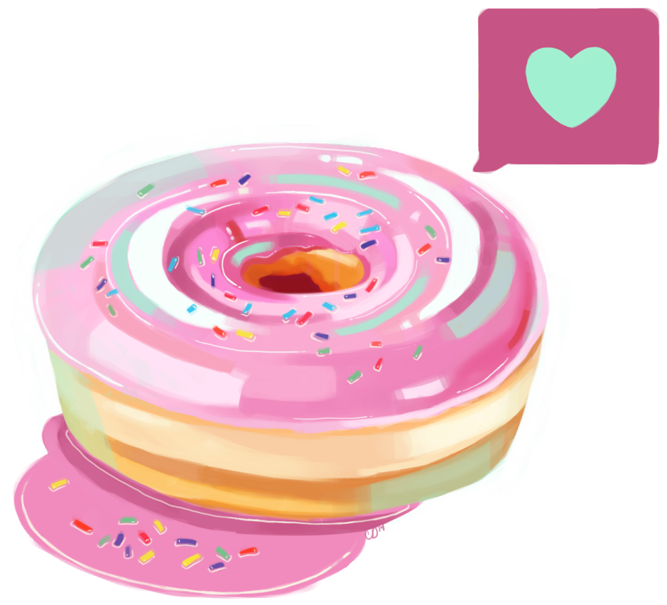 Doughnut clipart heart. Pink frosted donut png