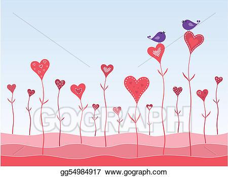 Eps illustration birds in. Clipart hearts garden