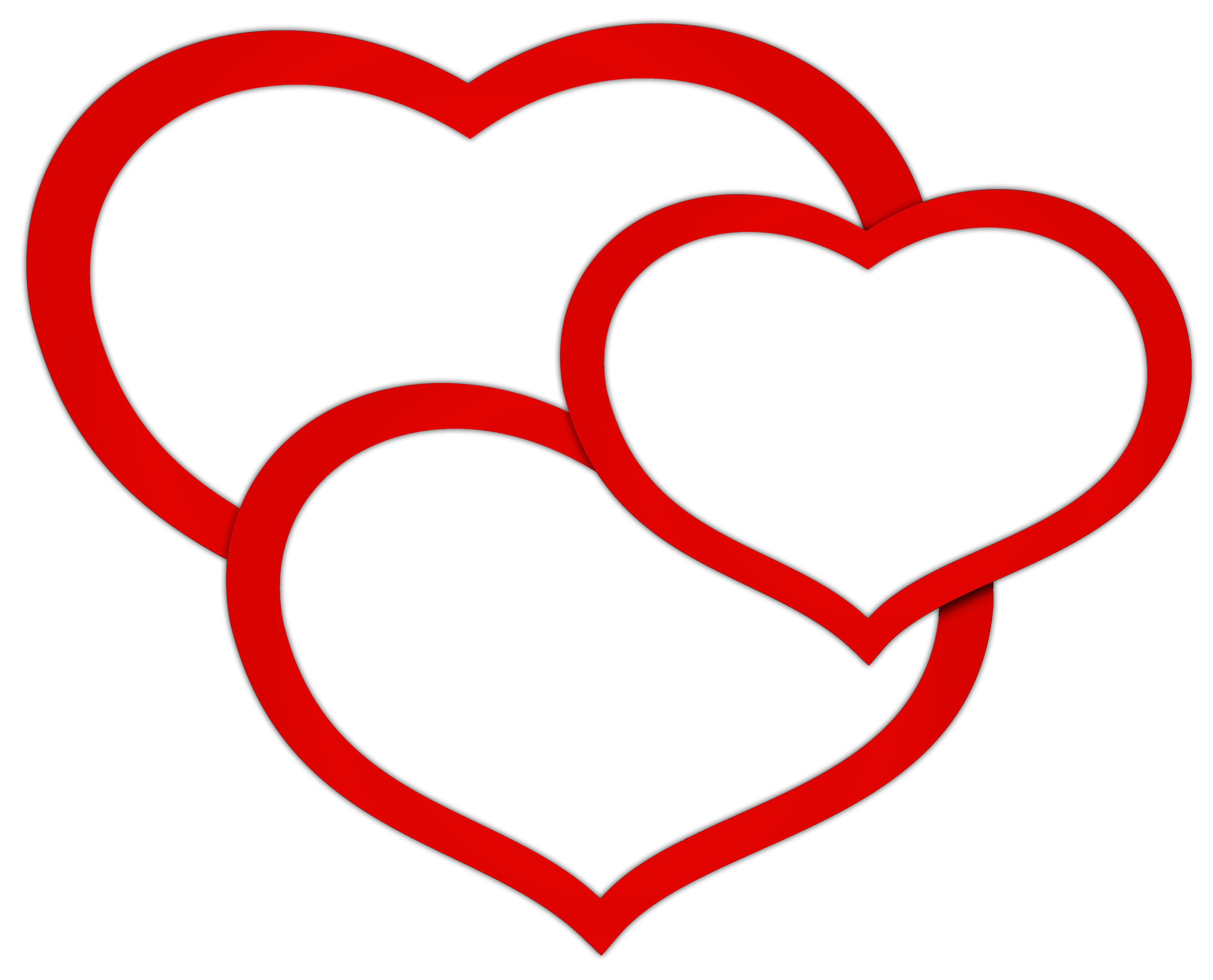 Transparent red triple clipart. Line of hearts png