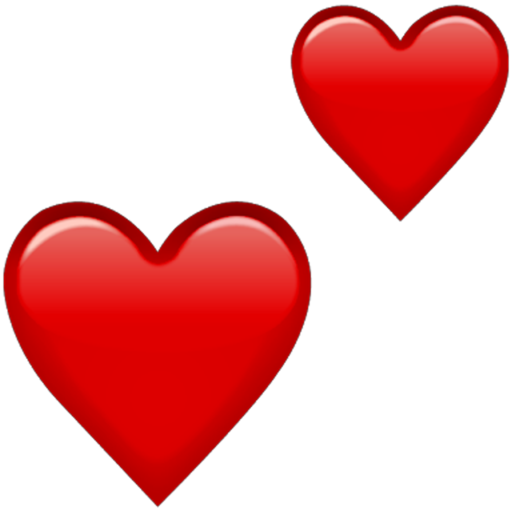 Red hearts png. Emoji double