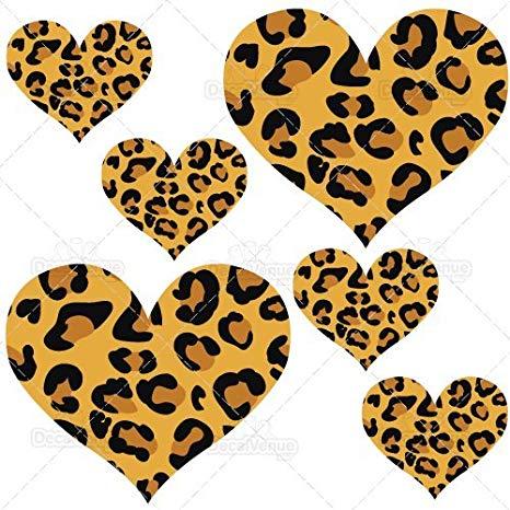 Set of reusable wall. Hearts clipart leopard print