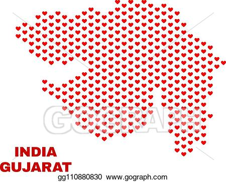 Hearts clipart map. Vector illustration gujarat state