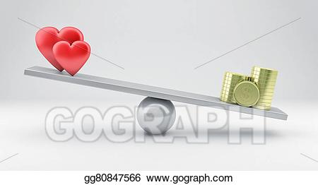 Scales with and stock. Hearts clipart money