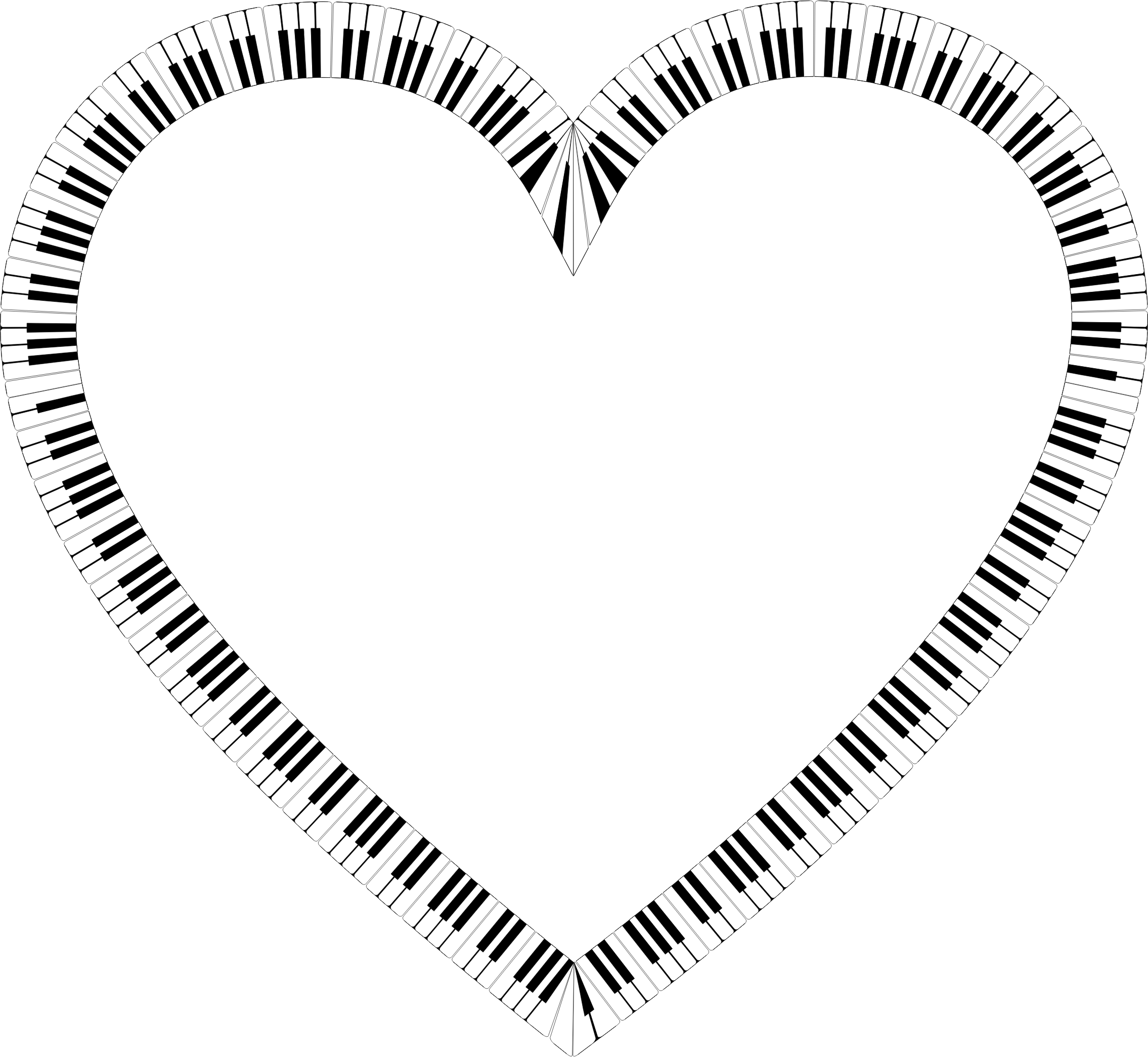 Keys heart big image. White clipart piano