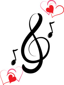 Notes heart clip art. Hearts clipart music