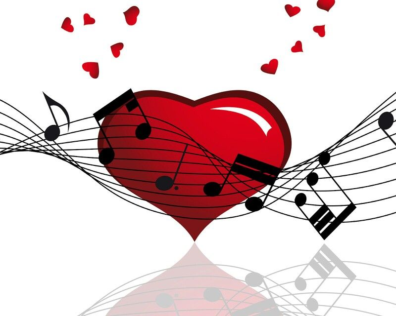 Music notes and hearts. Musical clipart valentine