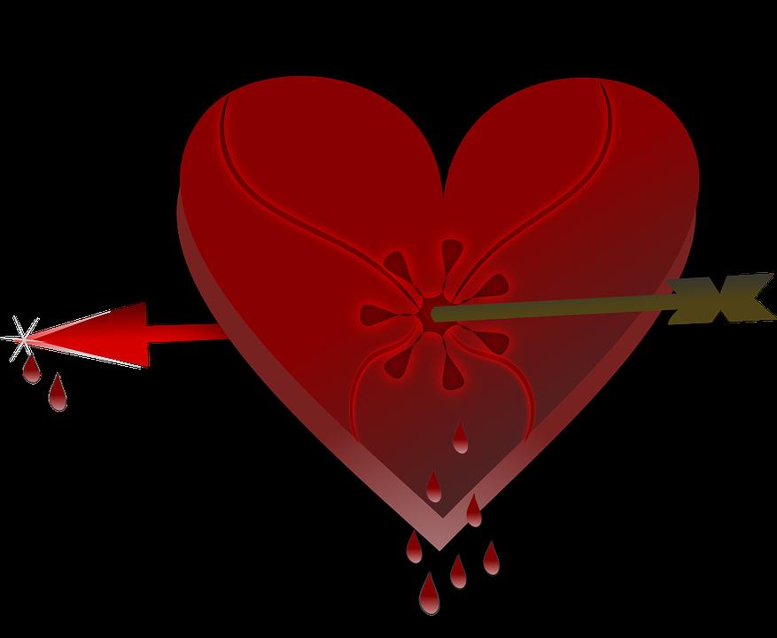 Broken linked sweetheart pencil. Heart clipart human