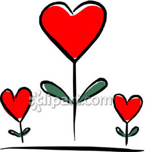 Three growing as plants. Clipart hearts plant