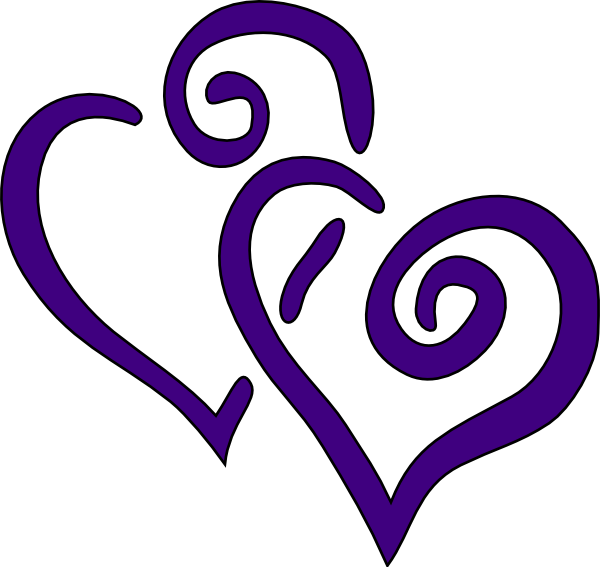 R clipart purple. Big hearts clip art