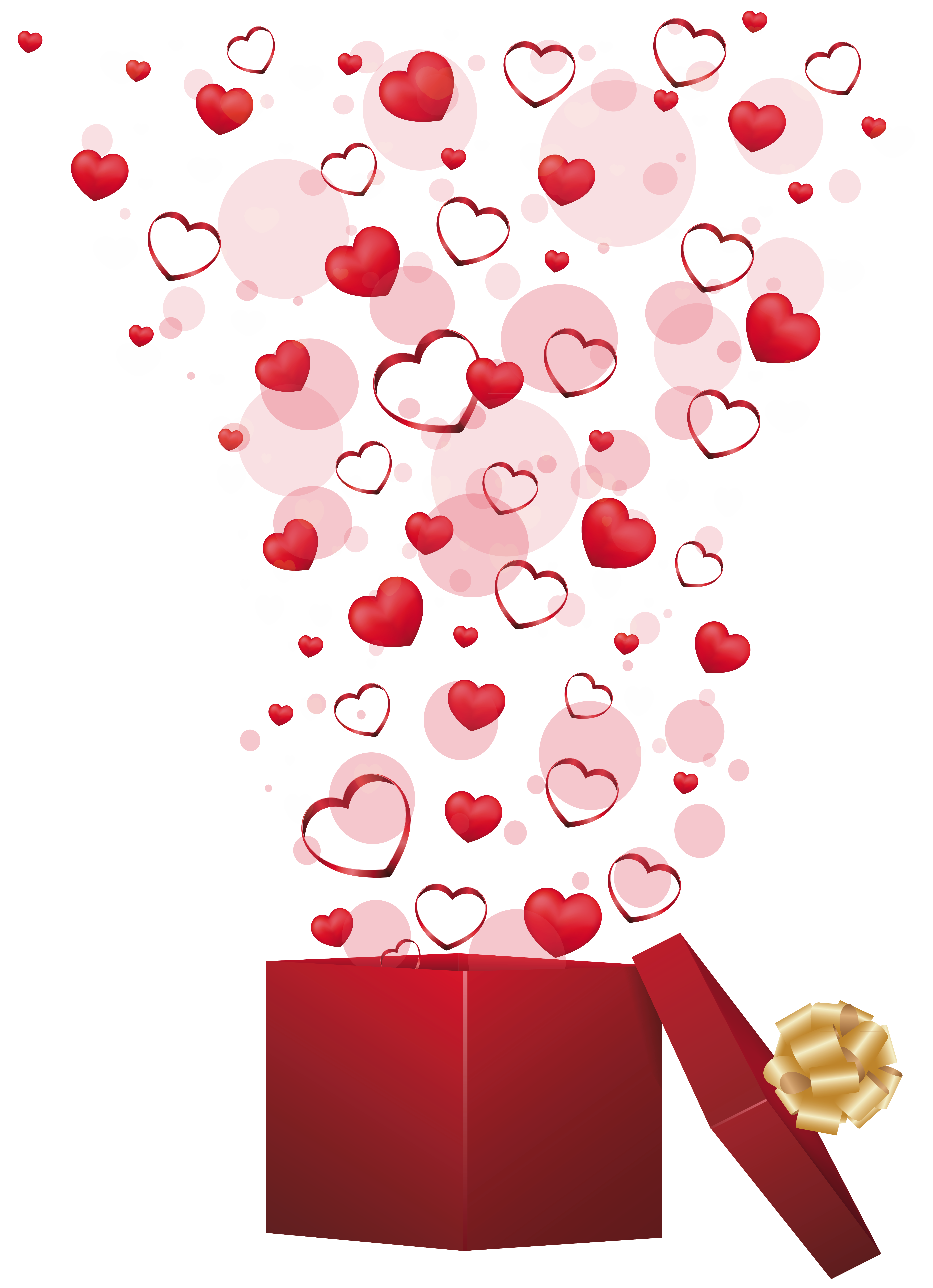 Red gift with hearts. Confetti clipart valentines