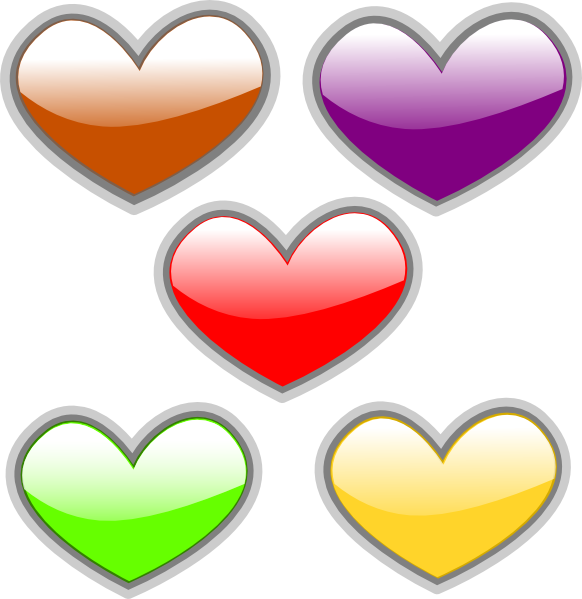 Hearts clipart christmas. Multi colored glossy clip